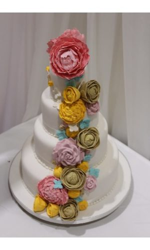 Floral Garland Wedding Cake