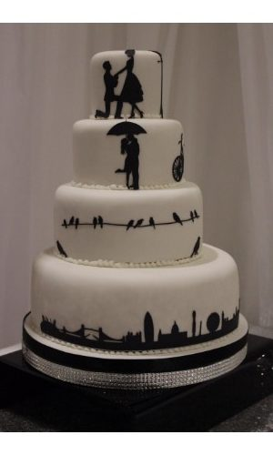 Love Story Silhouette Wedding Cake